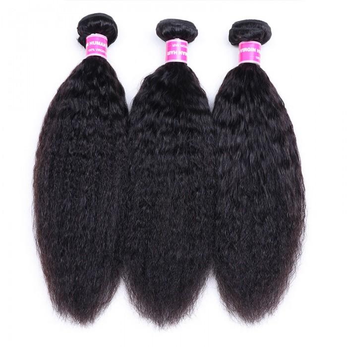 Nadula Wholesale Best Kinky Straight Hair Weave 3 Bundles Virgin Human Hair Extensions Cheap Remy Hair