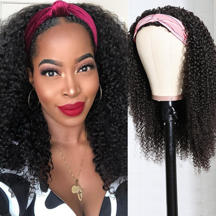 Nadula Afro Curly Human Hair 3/4 Half Wig for African American Women150% Density Affordable Kinky Curly Wig for Sale