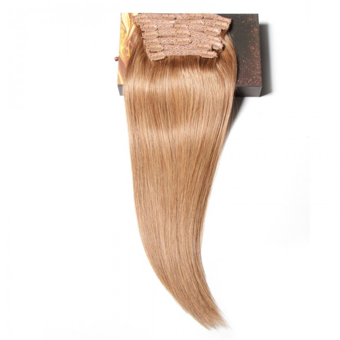 Nadula #12 Light Brown 100%  Human Hair Clip In Hair Extensions Full Head