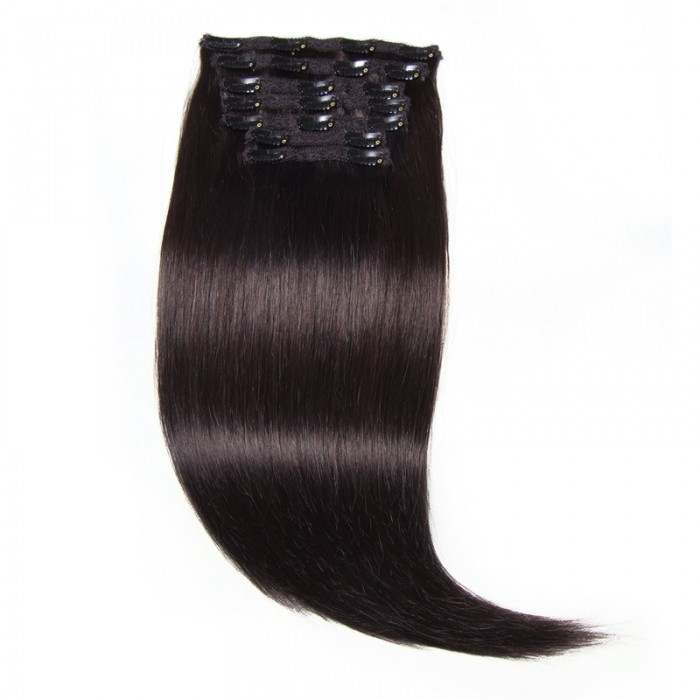 Nadula #1B Natural Black Color Good Feedback Thick Human Hair Extensions Clip In Hair Extensions