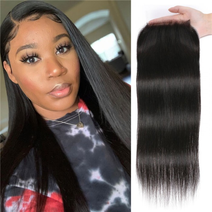 Nadula 1PC High-quality Straight 5X5 Inch Transparent HD Closure 100% Virgin Human Hair