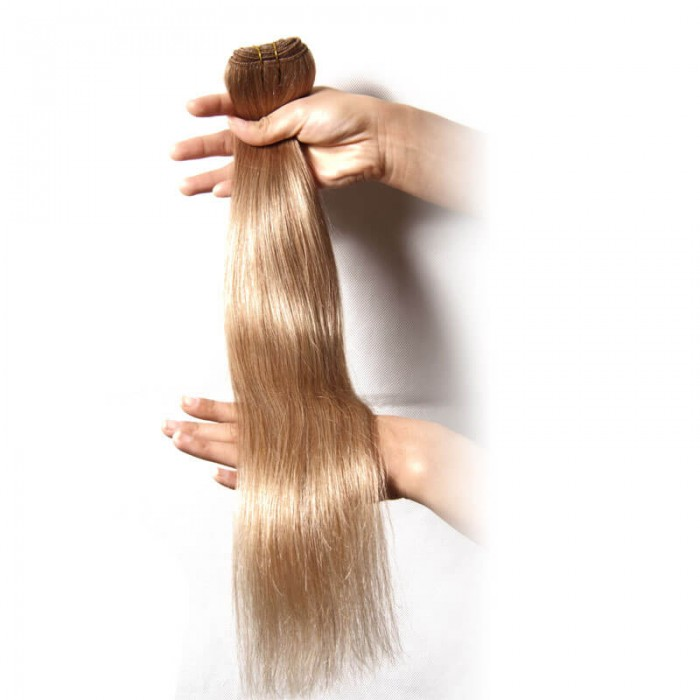 Nadula #18 1 Bnudle 100g Ash Blonde Straight Human Hair Weave Extensions