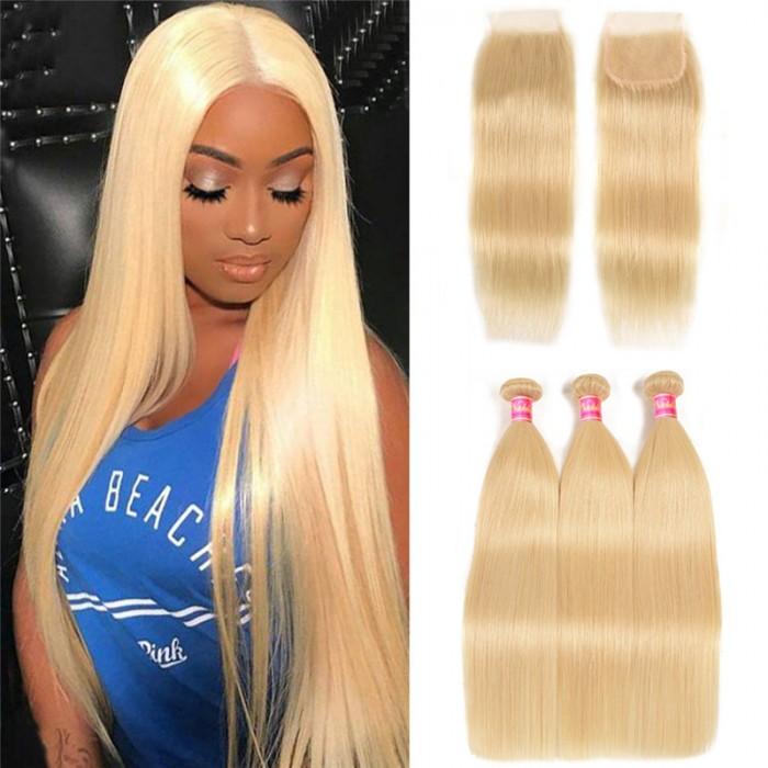 Nadula 3PCS 613 Blonde Hair Bundles With Closure 16-24 Inch Straight Virgin Human Hair