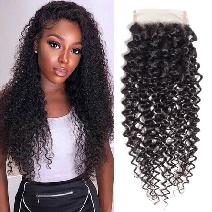 Nadula 4×4 Lace Closure Pre-plucked Kinky Curly 100% Virgin Human Hair 10-20 Inch Natural Color