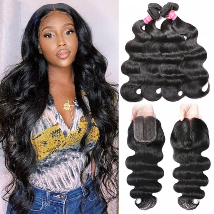 Nadula 4 Bundles Body Wave Hair Weave With 4*0.75 T Part Lace Closure 100% Unprocessed Virgin Human Hair