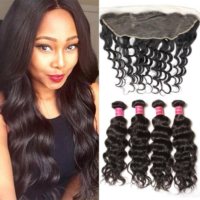 Nadula 4 Bundles Natural Wave Virgin Hair Weave And Frontal 13x4 Ear To Ear Frontal Closure