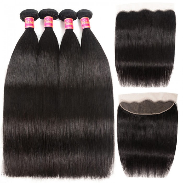 Nadula 4 Bundles Straight Virgin Hair Weave With Lace Frontal Closure 13x4 Affordable Human Hair Extensions