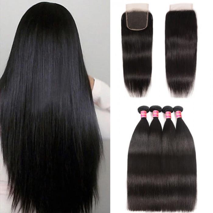 Nadula 4 Bundles Virgin Straight Human Hair Weave With Lace Frontal Closure