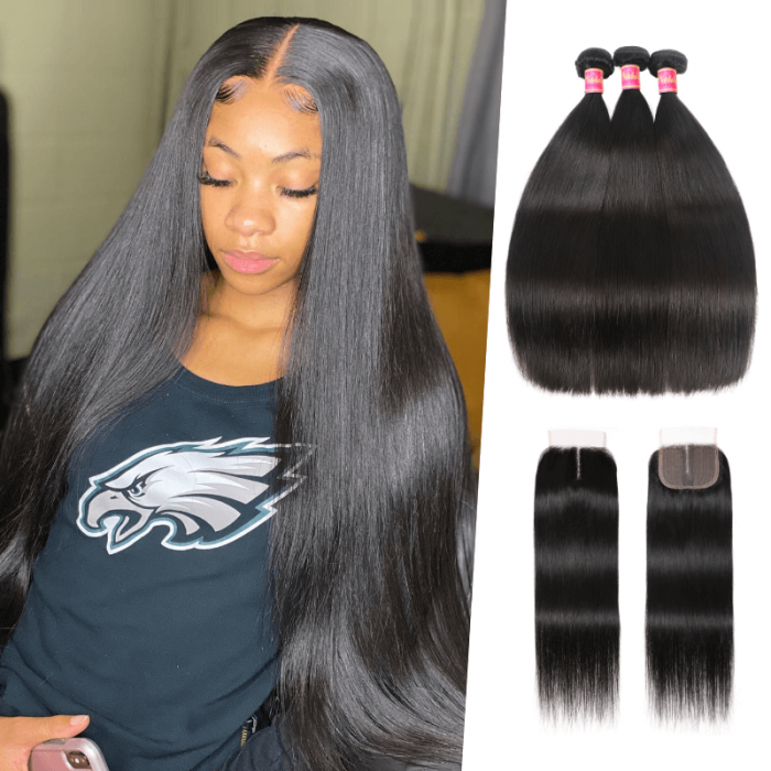 Nadula 4*0.75 Inch Middle Part Straight Virgin Hair Closure with 3 Bundles Soft Unprocessed Human Hair Weave