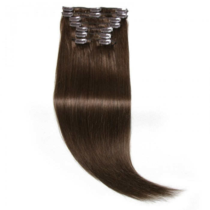Nadula #4 Chocolate Brown Real Best Human Hair Clip In Hair Extensions Wholesale
