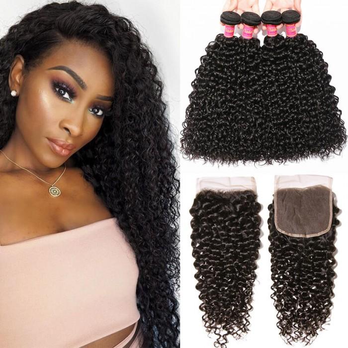 Nadula 4pcs Hair Weave Curly Hair Bundles With Lace Closure Unprocessed Human Hair