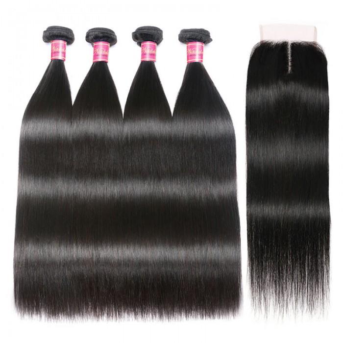 Nadula 4*0.7 Inch T Part Closure with 4 Bundles Virgin Straight Human Hair Weave