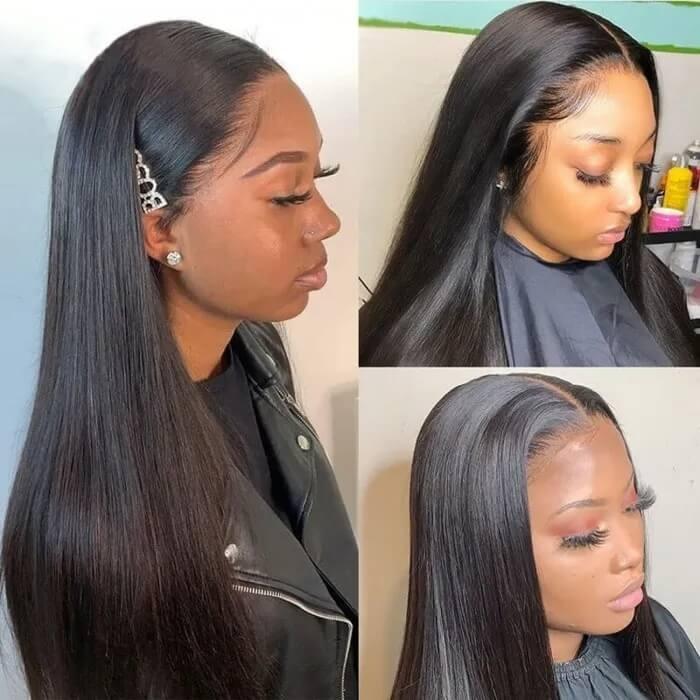 Nadula 5x5 Transparent HD lace closure Straight wig 180% Density Wig Real Human Hair Virgin Hair
