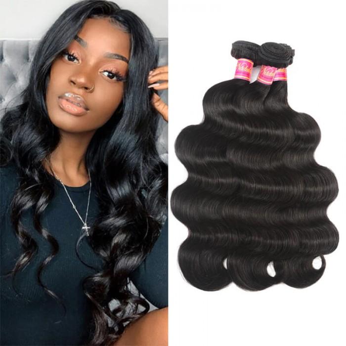 Nadula Affordable Virgin Peruvian Body Wave Hair Weave 4 Bundles Wavy Peruvian Virgin Human Hair Extensions