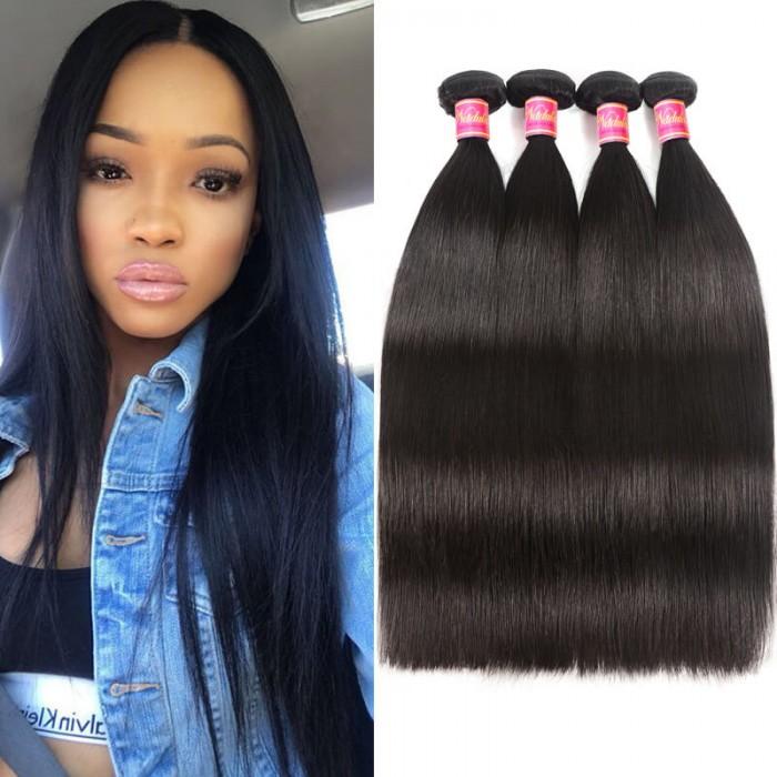 Nadula Affordable Virgin Peruvian Straight Hair 4 Bundles Thick Virgin Peruvian Human Hair Weave