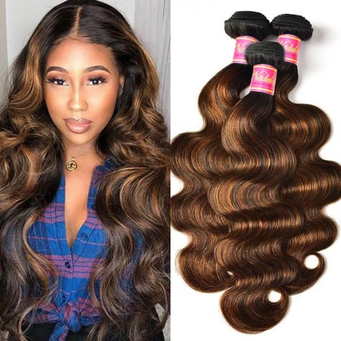 Nadula Balayage Hair Color Virgin Hair Bundles 3 Bundles Body Wave 1B/30# Highlights Ombre Color Bundles