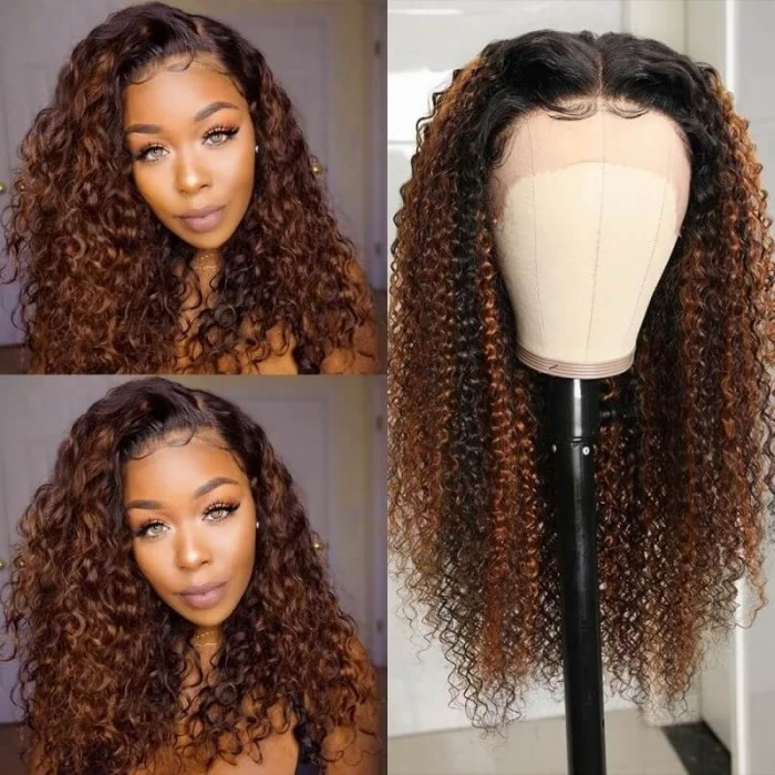 Nadula Balayage Highlights Wigs On Black Hair 100% Curly Human Hair Wigs With Red Brown Streaks