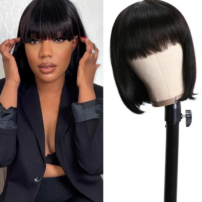 Nadula Human Hair Bob Wig With Bangs 150% Density Virgin Remy Hair Classic Glue-less Wig