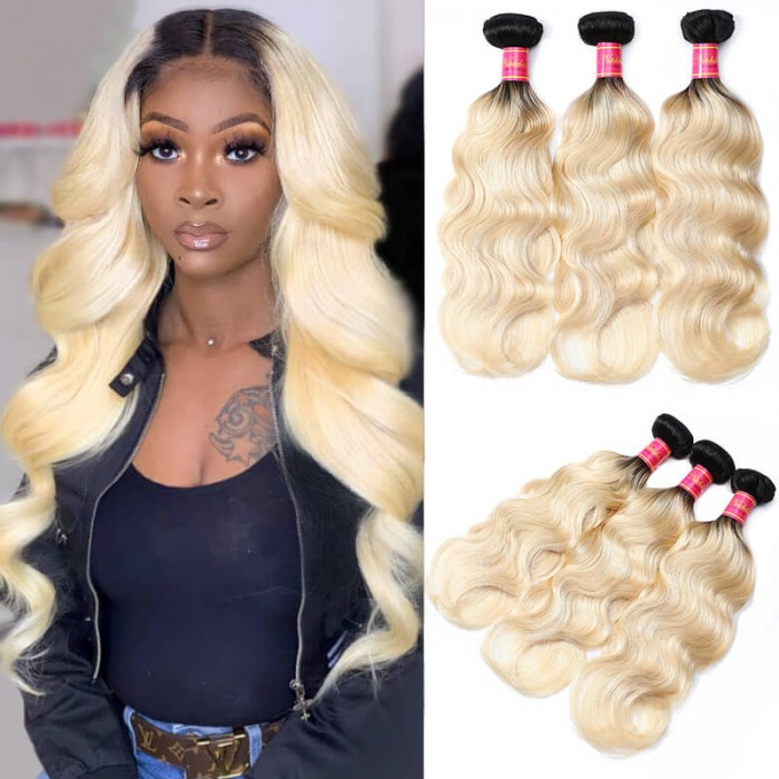 Nadula Body Wave Ombre Hair 3 Bundles 2 Tone Color Human Hair Weave Extensions For Sale
