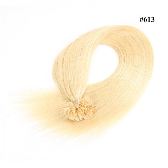 Nadula Brazilian Remy Human Hair Extensions 50G Straight Nail U Tip Fusion Hair Extensions #613