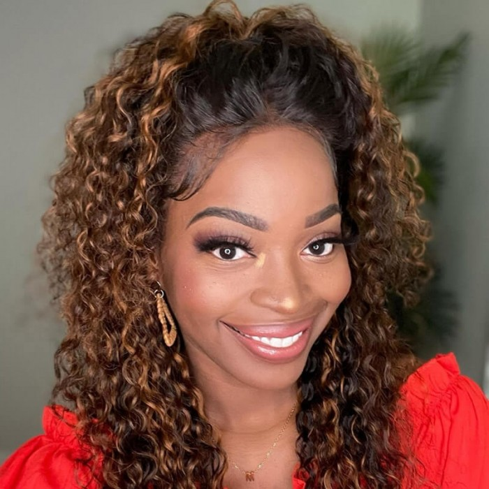Nadula Brown Balayage Lace Front Wigs Black Hair with Modern Auburn Color Highlights