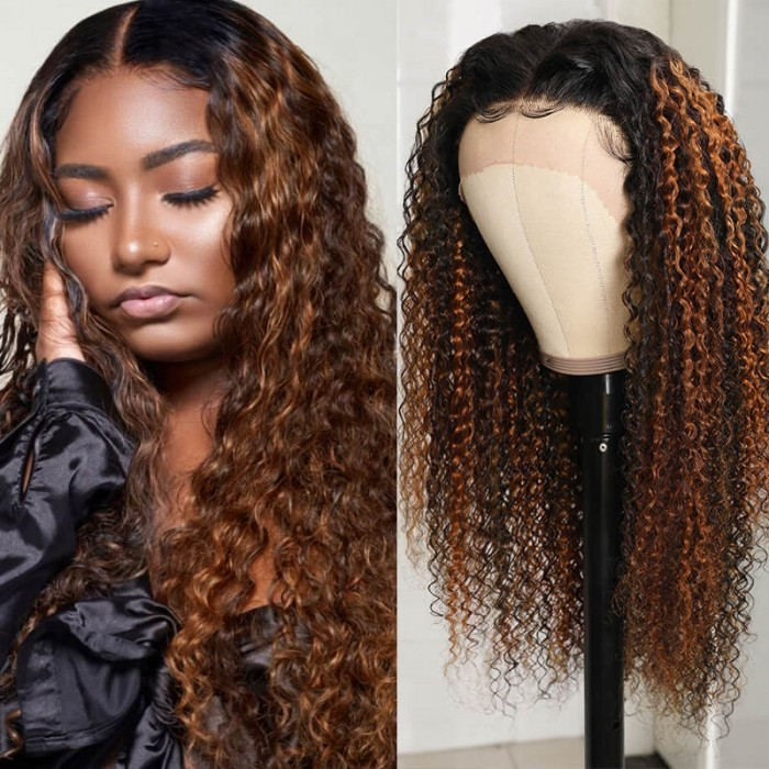 Nadula Caramel Balayage Highlights Curly Human Hair Lace Front Wigs With Blonde Streaks