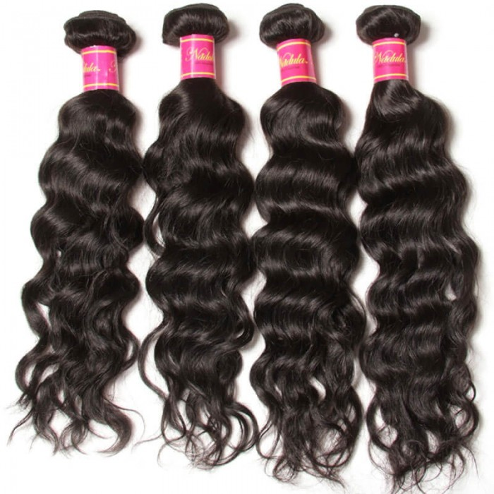 Nadula Quality Malaysian Virgin Hair Weave Natural Wave 4 Bundles Double Wefted Malaysian Wavy Hair Extensions