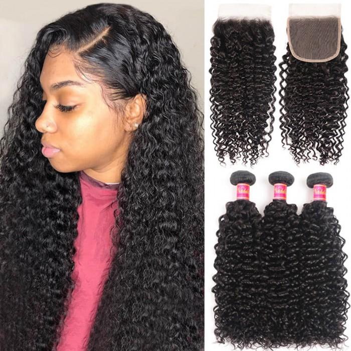 Nadula Curly Hair Transparent 4X4 Lace Closure With Hair Weave 3 Bundles Unprocessed Virgin Human Hair