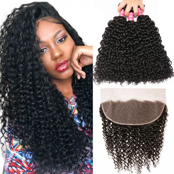 Nadula Brazilian Curly Virgin Hair Weave 3 Bundles With 13x4 Lace Frontal Closure Best Virgin Human Hair