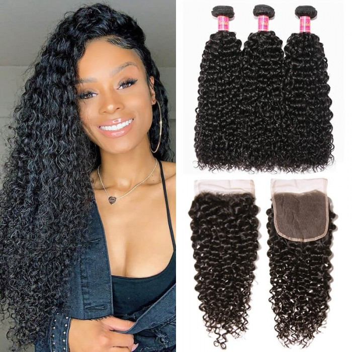 Nadula Curly Virgin Hair Weave 3 Bundles With 4x4 Lace Closure Unprocessed Human Hair Extensions