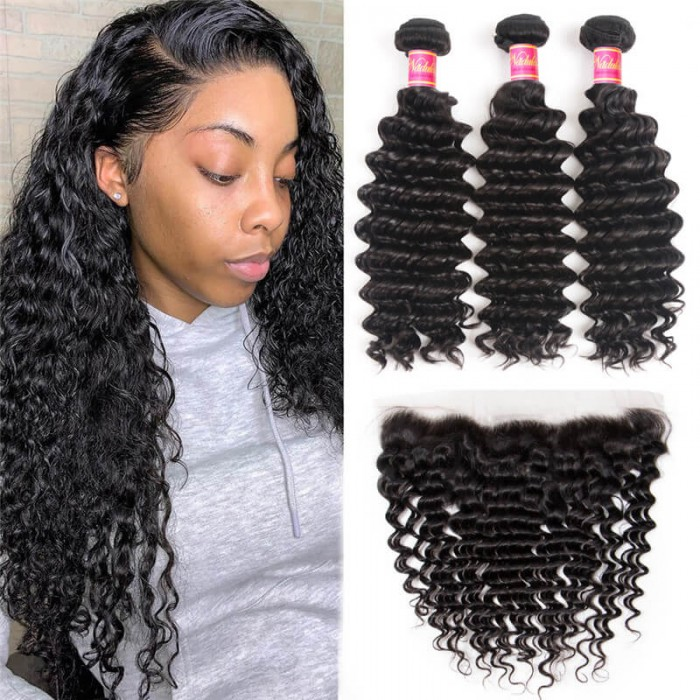 Nadula Deep Wave Virgin Hair 3 Bundles With Lace Frontal 13x4 Hair Closure Soft Human Hair