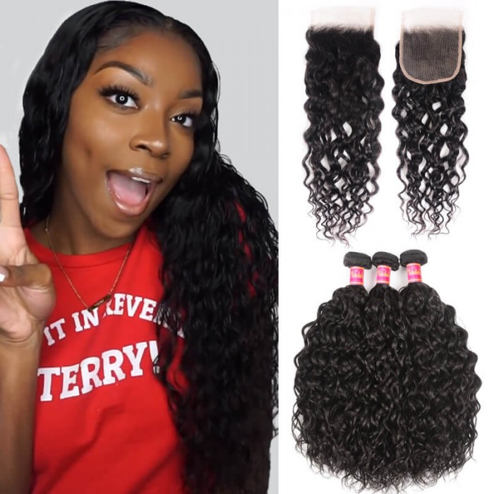 Nadula Good Quality Water Wave Virgin Hair Weave 3 Bundles With Lace Closure 100% Soft Unprocessed Virgin Human Hair