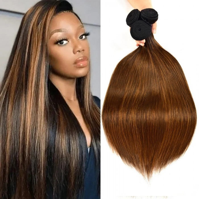 Nadula Hair 3 Bundles Straight Colored Hair Weave #FB30 Highlight Human Hair Weave