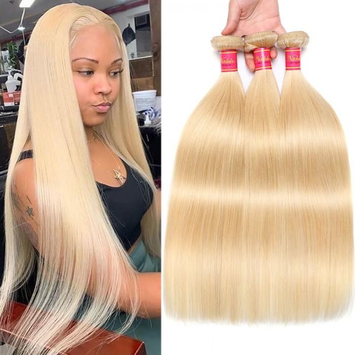 Nadula Hair 613 Blonde Virgin Human Hair Extension Bundles 16-24 Inch 3PCS Straight Hair