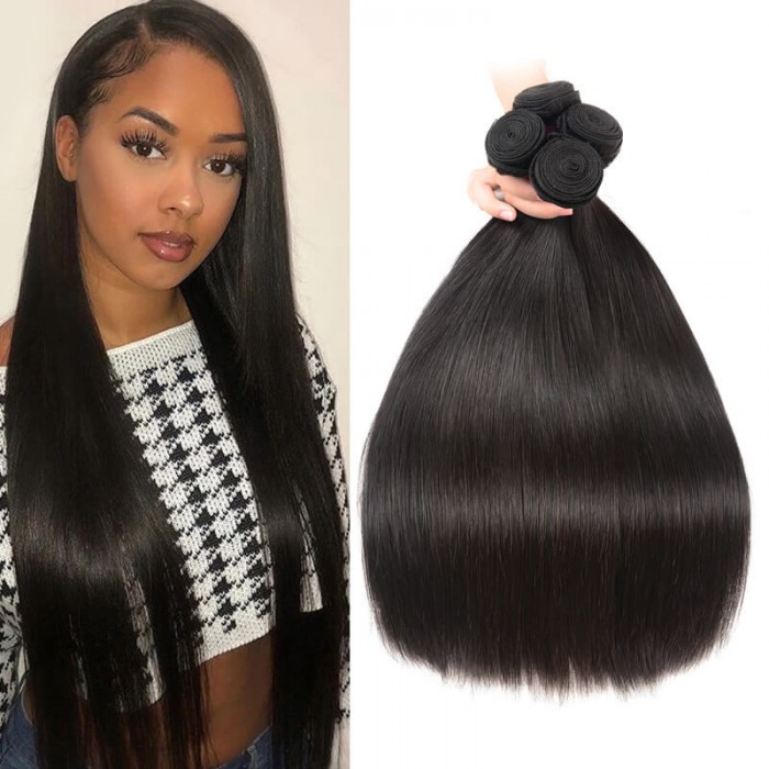 Nadula Quality Indian Hair Weave Bundles 4 Pcs Thick Straight Indian Virgin Remy Human Hair Extensions