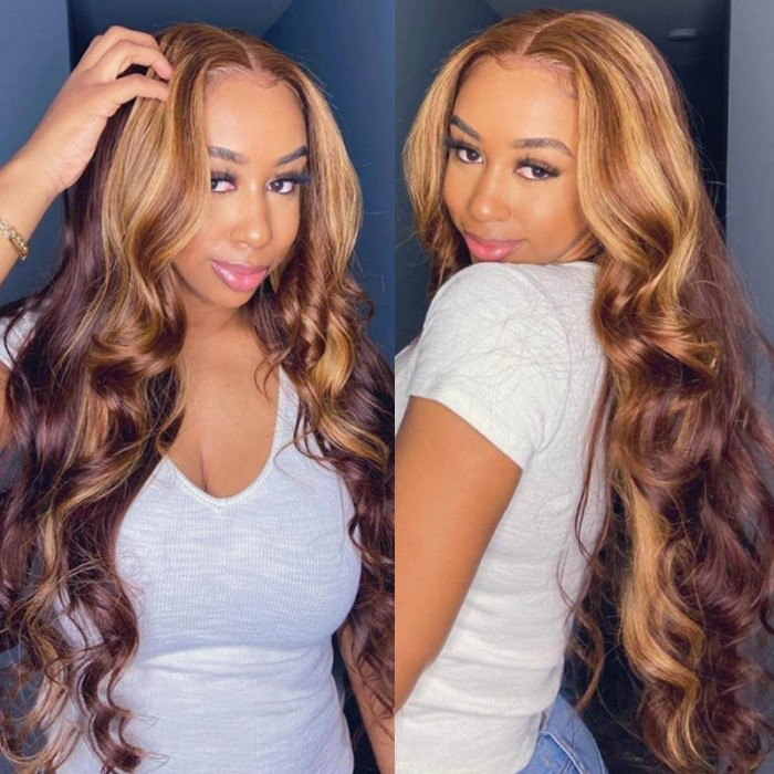 Nadula Highlight Body Wave Wig Brown Piano Color Lace Part Wig 13x5x0.5 Middle Part Human Hair Wigs