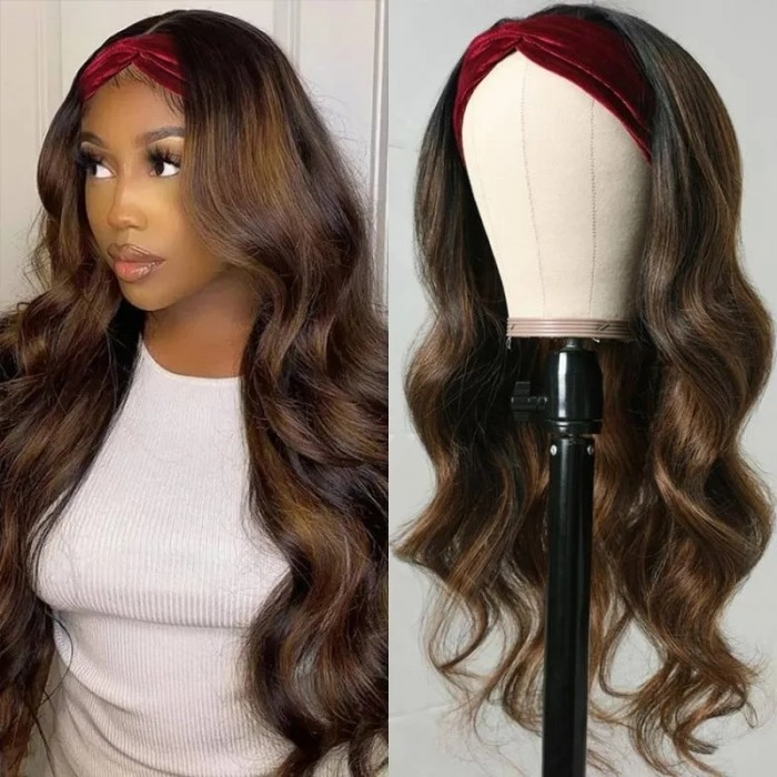 Nadula Highlight Brown Body Wave Headband Wigs FB30 Color Glueless Wig 150% Density Human Hair