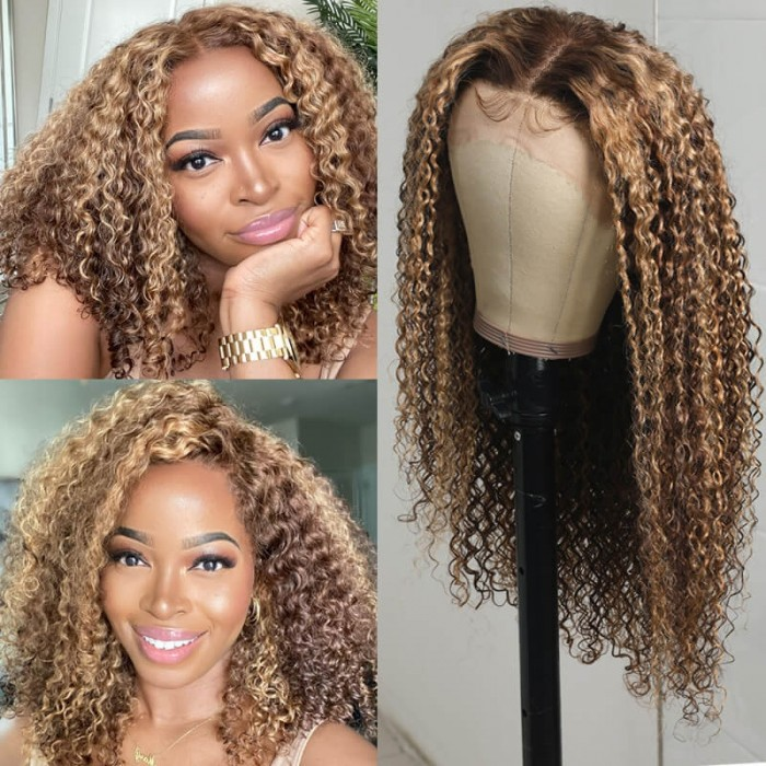 Nadula Highlight Brown Curly Lace Front Wigs Honey Blonde Highlight Wigs Ombre Wig Human Hair 150% Density TL412 Color
