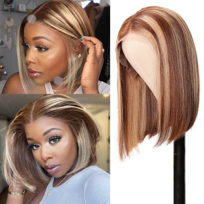Nadula Highlight Straight Bob Wigs With Baby Hair 4x0.75 Inch Lace Middle Part Wigs Brown Color Wigs Human Hair