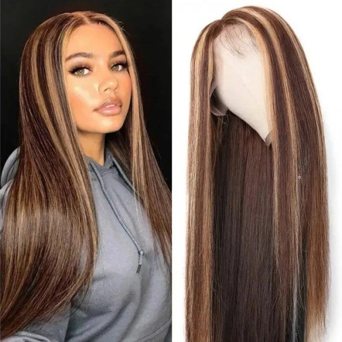 Nadula Brown Highlight Straight Wigs With Baby Hair Quality Human Hair Lace Front Wigs For American Women