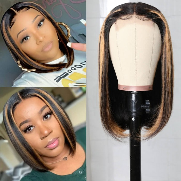 Nadula Honey Brown Highlight Bob Wig 14inch Straight Middle Part Human Hair Ombre Wigs