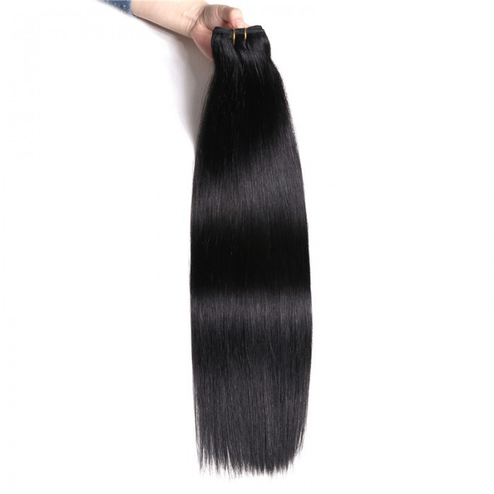 Nadula #1 Jet Black Straight Human Hair Weave Extensions 1Bundle 100g