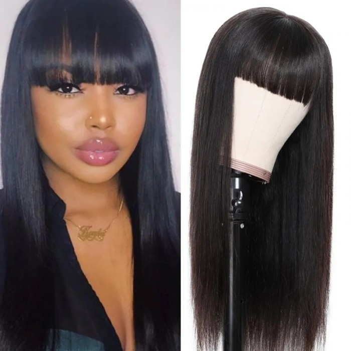 Nadula Transparent Lace Front Wigs With Bangs Long Straight 13x4 Lace Wig Remy Virgin Hair