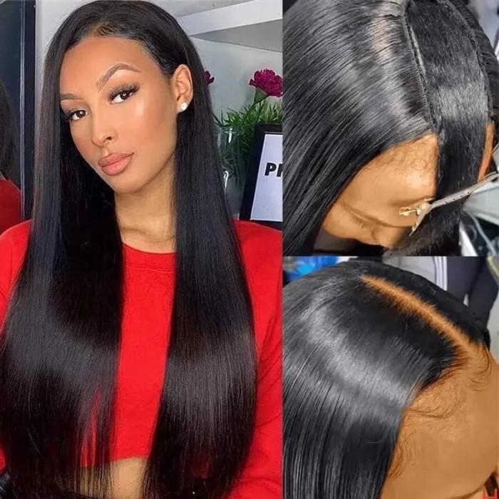 Nadula Straight U Part Wig Virgin Remy Human Hair Soft Silky Straight Wigs 150% Density Human Hair Wig