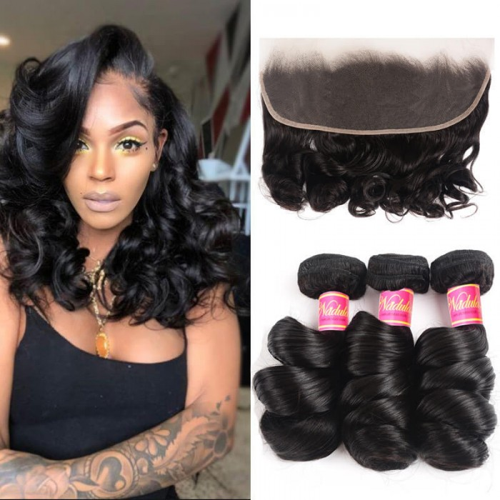 Nadula Loose Wave 3 Bundles With 13X4 Lace Closure Frontal Human Hair Wave Style