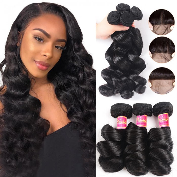 Nadula Loose Wave Hair Weave 3 Bundles With Lace Closure Human Hair Extensions Wholesale Price