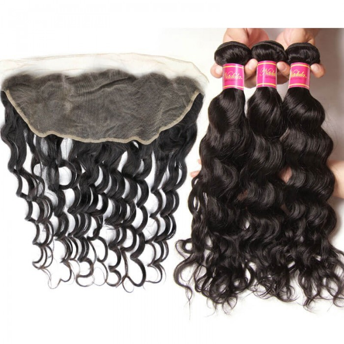 Nadula Natural Wave Lace Frontal And 3 Bundles Hair Weave Soft Virgin Hair With 13x4 Ear To Ear Frontal