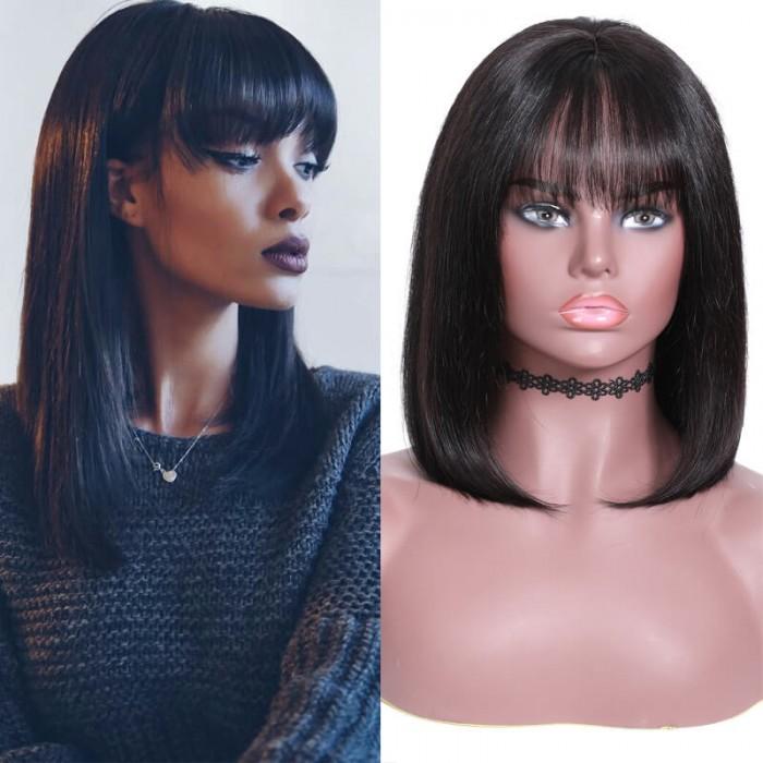 Nadula New Straight Bob Wig with Bang Lace Front 180% Density Wig 100% Human Hair