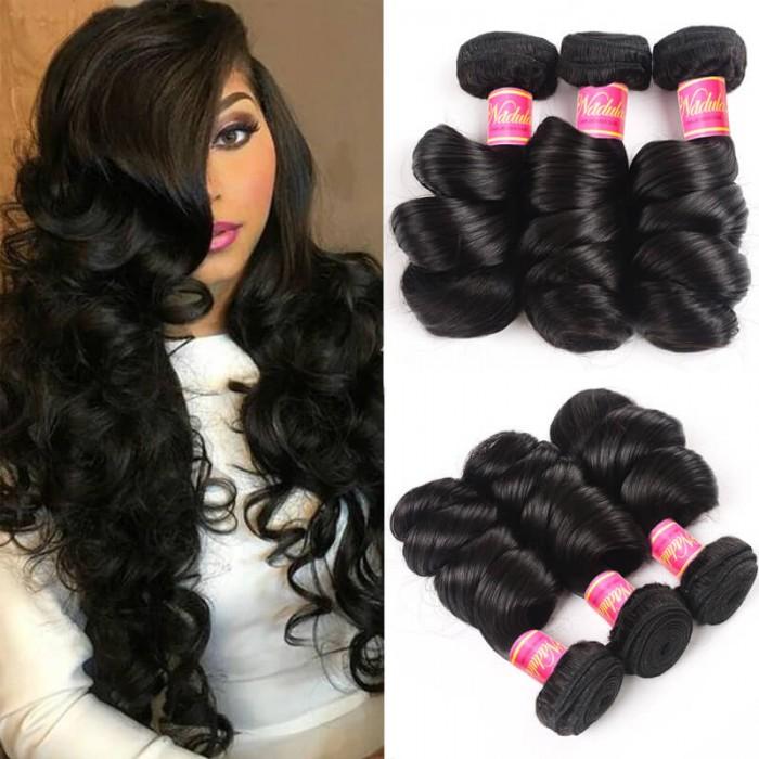 Nadula Quality Brazilian Virgin Hair Loose Wave Unprocessed Brazilian Hair Weave 4 Bundles Free Shipping