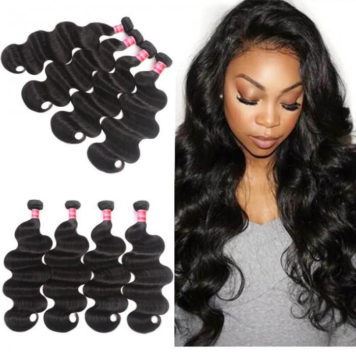 Nadula Quality Malaysian Hair 4 Bundles Pcs Natural Black Virgin Malaysian Body Wave Human Hair Weaving